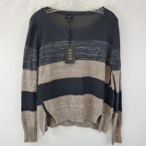 NWT Fate stripe semi crop pullover sweater